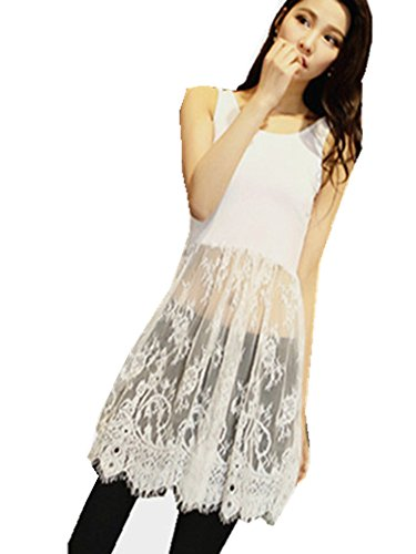 Peak Women Girl Extender Camisole Long Tank Slip Top Trim Layer Vest Lace Dress White XXL