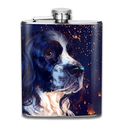 Men and Women Thick Stainless Steel Hip Flask Outdoor Mini Portable Looking Up at The Spanish Hound Portable Adult Pocket Flagon Whiskey Container Flask Pocket 7 Oz 304 Thick for Unisex