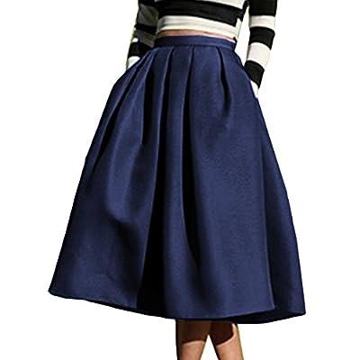 Yige Women's High Waisted A line Skirt Skater Pleated Full Midi Skirt
