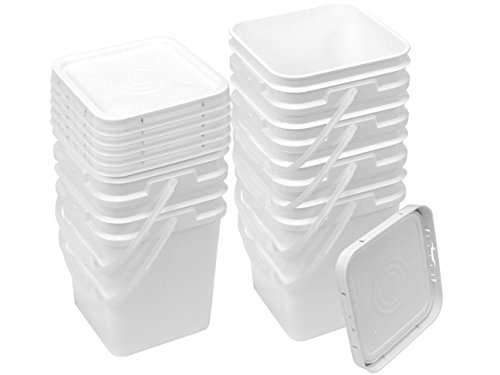 Square Bucket Kit, Six 4-Gallon Buckets and Six White Snap-on Lids with Gaskets]()