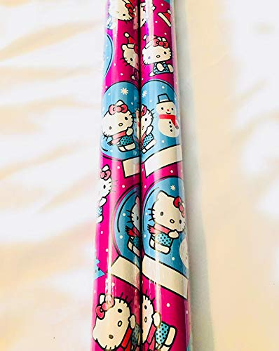 Christmas Wrapping (Bonus Themed Writing Tool) Holiday Paper Gift Greetings 1 Roll Design Festive Hello Kitty