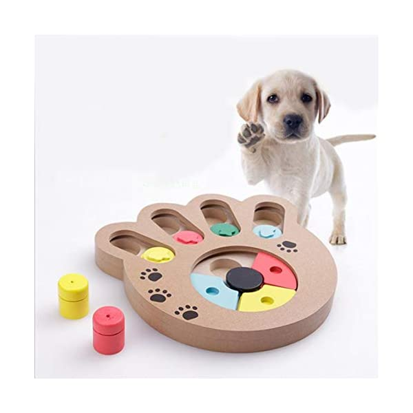 coldshine Dog Puzzle Toy Interactive Dog Toys Pet Dog Wooden Game IQ Training Toy Food Dispensing Puzzle Plate 3