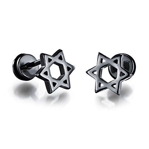 - OPK Jewelry Star of David Mens Womens Stud Earrings Screw Back,Stainless Steel,Silver/Black/Gold
