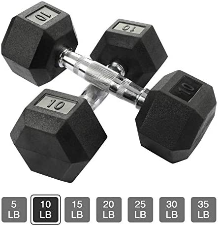 Aimyoo Rubber Hex Dumbbell with Metal Handle for Strength Training Full Body, Home Fitness,Weight Loss, Fitness Dumbbells 5lbs, 10lbs, 15lbs, 20lbs, 25lbs, 30lbs, 35lbs in Singles or Pairs 1