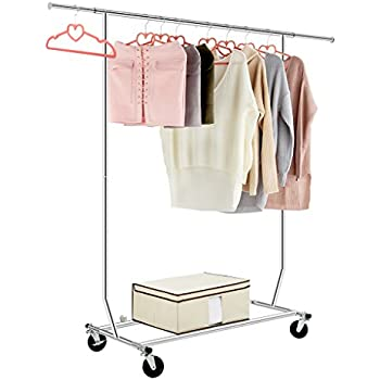 LANGRIA Heavy Duty Commercial Grade Garment Clothing Rack Supreme Rolling  Rack Steel Adjustable Clothes Rack,