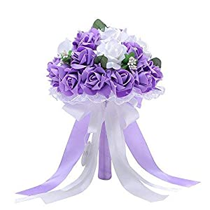 Handmade Wedding Bridal Bouquet Artificial Flowers Rose with Fake Pearl and Ribbon for Bridesmaid Bride 102