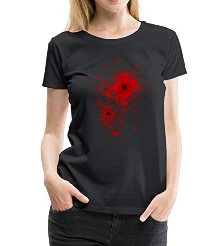 Spreadshirt Bullet Wound Bloody Costume Women's Premium T-Shirt, 2XL, Black]()
