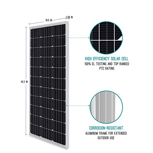 Renogy 100 Watt 12 Volt Monocrystalline Solar Panel, Compact Design 42.2 X 19.6 X 1.38 in, High Efficiency Module PV Power for Battery Charging Boat, Caravan, RV and Any Other Off Grid Applications