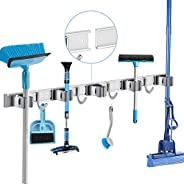 POPRUN Broom Holder Wall Mount with Slidable Racks and Hooks - Stainless Steel Mop Organizer for Tool Organiza