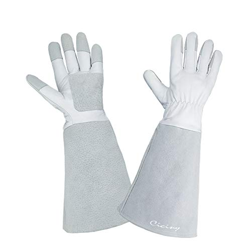 CICINY Thornproof Pigskin Leather Gardening Gloves Long Sleeve For Women  And Men, Rose Pruning Floral