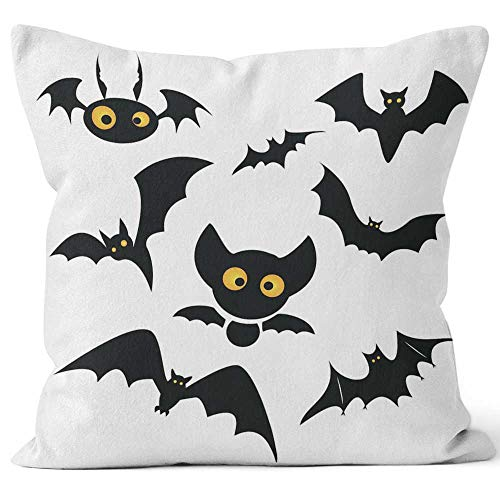 Nine City Halloween bat Clip Art Isolated on a White Throw Pillow Cover,HD Printing for Sofa Couch Car Bedroom Living Room D¨¦cor,24
