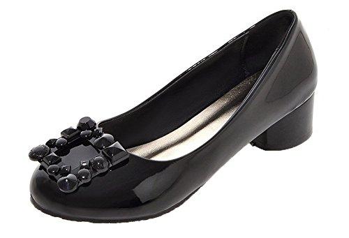 VogueZone009 Damen Niedriger Absatz PU Ziehen auf Rund Zehe Pumps Schuhe Schwarz