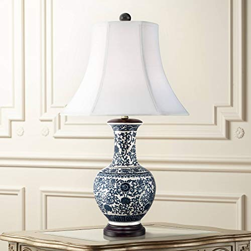Windom Asian Table Lamp Ceramic Blue Floral Urn White Bell Shade for Living Room Family Bedroom Bedside Nightstand - Barnes and Ivy ()