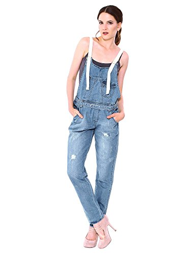 Juniors Ripped Straight Jumpsuit Overalls
