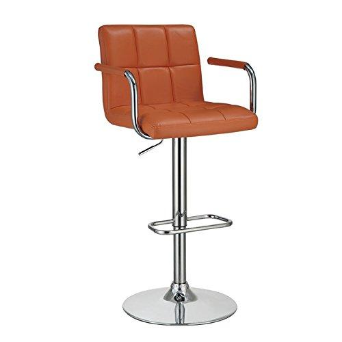 Coaster Home Furnishings Casual Adjustable Bar Stool, Orange/Orange - French Back Bar Stool