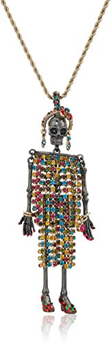 Betsey Johnson Womens Skeleton Long Pendant Necklace