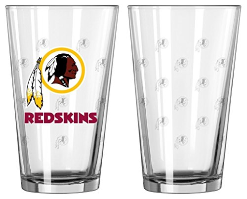 Boelter Brands NFL Washington Redskins Pint GlassSatin Etch 2 Pack, Clear, One Size