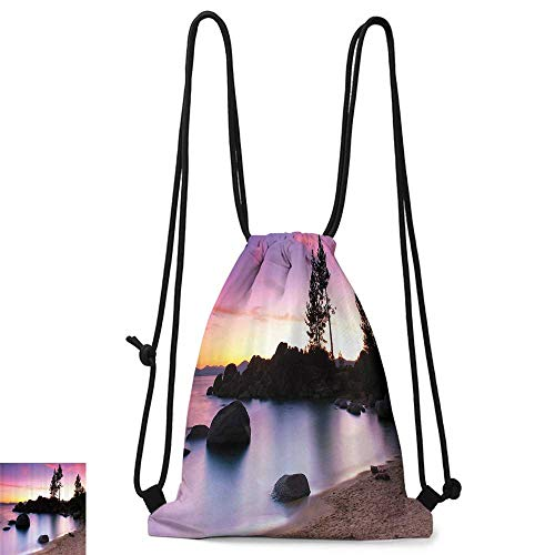 Yoga backpack Nature Lake Tahoe Beach at Sunset with Dreamy Purple Misty Sky Surreal Coast Scenery W14
