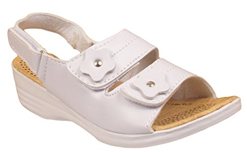 Ladies Women's Flower Touch Strap Faux Leather Comfort Summer Sandals Shoes Size White
