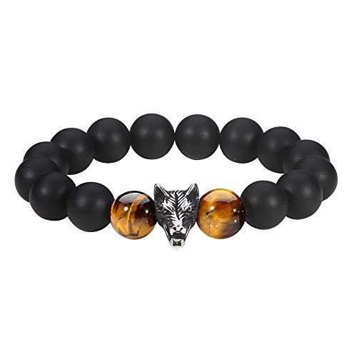 Jeka Wolf Charm Anxiety Gemstone Bracelet for Men Women Handmade Braided Wrap Cool Black Agate Onyx Tiger Eye Beads 12mm Energy Power Animal Wrist Stretch Gift