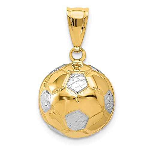 14k Solid Gold Soccer Ball - 14k Yellow Gold Soccer Ball Pendant Charm Necklace Sport Fine Jewelry For Women Gift Set