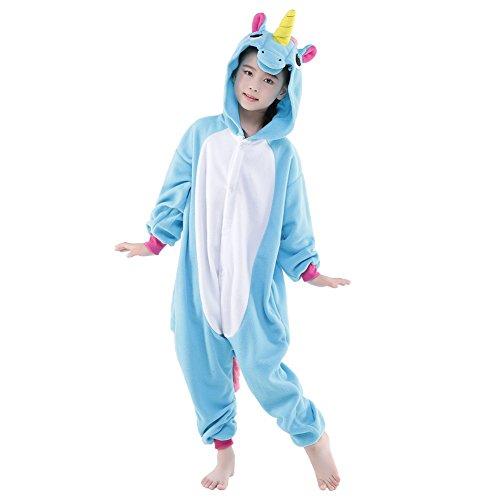 Monkey King Halloween Costume (Newcosplay Unisex Children Unicorn Pyjamas Halloween Kids Costume (115, Bule Pegasus))