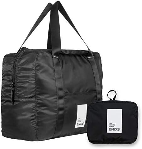 Airlines Personal Bag, Foldable Travel Bag, JIMISHA Travel Duffel Bag Lightweight Luggage Sports Gym Bag Water Resistant Nylon, 32L, White