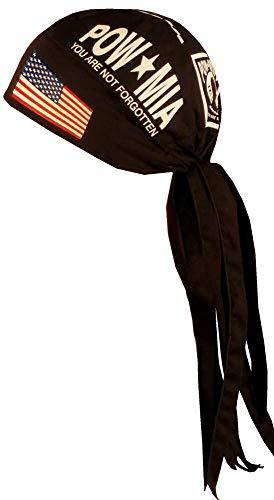 Nomad Skull Cap Biker Style Headwraps Doo Rags - POW/MIA w/Flag on Black