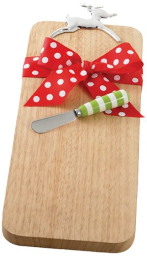 Mud Pie 'Tis The Season 16-3/4-Inch Wood Cutting Board  with Metal Deer Handle and Spreader