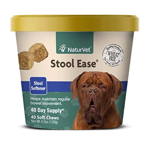 NaturVet - Stool Ease for Dogs - 40 Soft Chews - Helps Maintain Regular Bowel Movements - Enhanced with Sugar Beet Pulp, Flaxseed & Psyllium Husk - 40 Day Supply