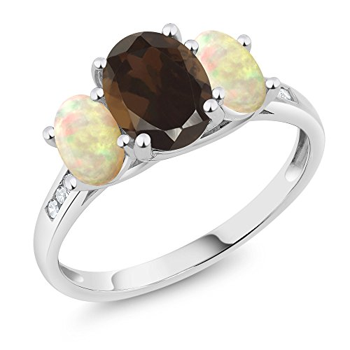 Gem Stone King 10K White Gold Diamond Accent Oval Brown Smoky Quartz White Ethiopian Opal 3-Stone Ring 1.84 Ct (Size 6)