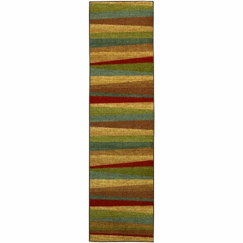 New Brown Stripe (Mohawk Home New Wave Mayan Sunset Printed Rug,  2'x8',  Sierra)