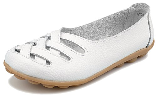 Kunsto Womens Leather Loafer Shoes Slip on US Size 9 White