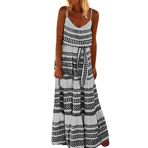 (HIRIRI Women's Dresses Belted Tie Waist Summer Bohemian Spaghetti Strap Loose Swing Long Maxi Dress Black)