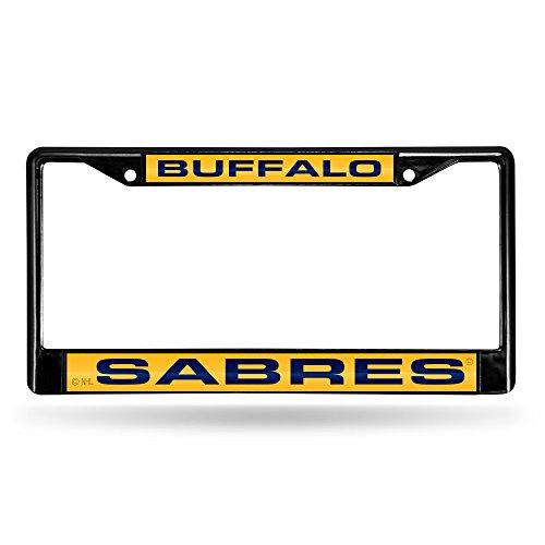 Rico NHL Buffalo Sabres Laser Cut Inlaid Standard Chrome License Plate Frame, 6