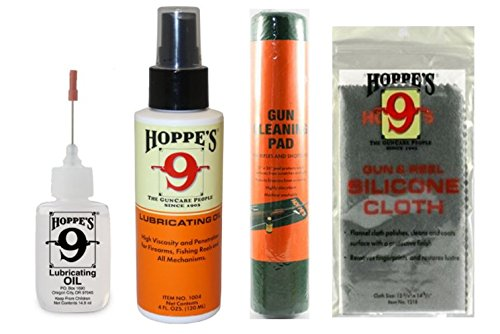 Hoppe's Gun Cleaning Kit, 14 ml Lubricating Oil Precision Applicator Bottle, 4 ounce Lubricant Pump Spray, Silicone-Treated Gun Cloth, Gun Cleaner Mat Pad For Pistols, Handguns, Shotguns