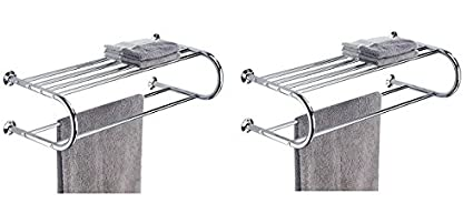 Organize It All Mounted Chrome Bathroom Shelf With Towel Rack 2