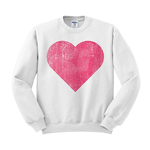 Vintage Heart Sweatshirt Unisex Medium White