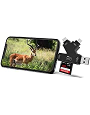 Campark 4 in 1 Trail Camera Viewer Compatible with iPhone iPad Mac or Android, SD and Micro SD Card Reader to View Wildlife Game Camera Hunting Photos or Videos on Smartphone