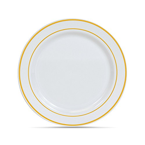 Wedding Heavyweight Plastic Party Plates, White with Gold Rim 50 Pack (10.25 Inch) Disposable Dinner Plates Fancy (Gold Rim Dinner)