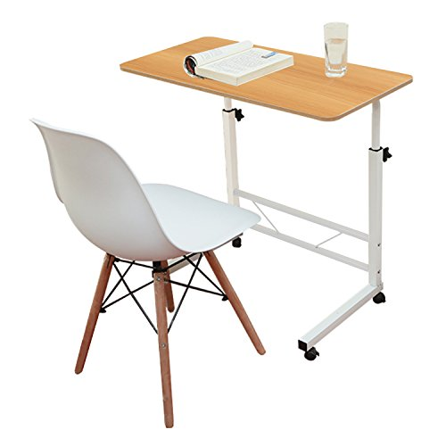 Jerry & Maggie - Adjustable Height Desk Laptop Desk Office Home Movable Table Bedside Lapdesk with 4 wheels Flexible Wooden Stand Desk Cart Tray Side Table - Natural Wood (Desk Height Computer Table)
