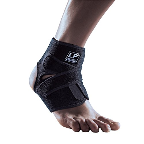 - LP SUPPORT 757CA Extreme Ankle Support Brace Wrap - Support and Compression for Weak or Injured Ankles - Hook and Loop Closure (Black - Free Size)