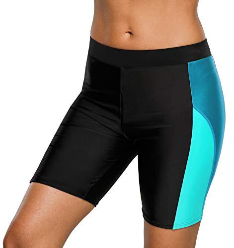 beautyin Swimwear Bottom for Womens Long Boardshorts Tankini Swim Jammers ,Black-blue 2,X-Large
