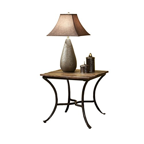 Emerald Home Innsbruck Medium Brown End Table with Solid Wood Top And Curved Metal Base