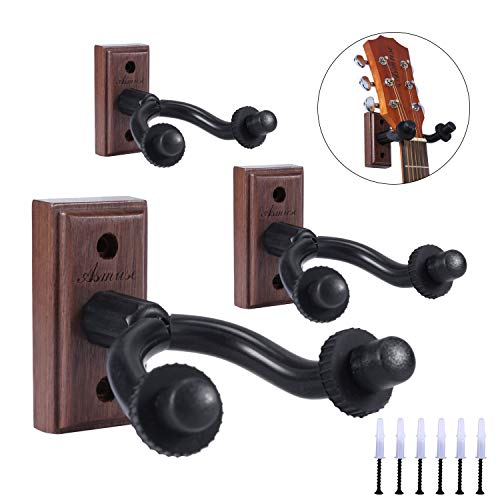 3 Packs Guitar Hanger Real Hardwood Black Walnut Wall Mount Holder for Acoustic Electric Guitar Bass Folk Ukulele Violin Mandolin Banjo 3 Packs (Black Walnut)