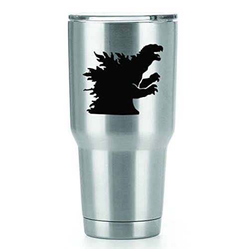 Godzilla Vinyl Decals Stickers ( 2 Pack!!! ) | Yeti Tumbler Cup Ozark Trail RTIC Orca | Decals Only! Cup not Included! | 2 - 3 X 3 inch Black Decals | KCD1161