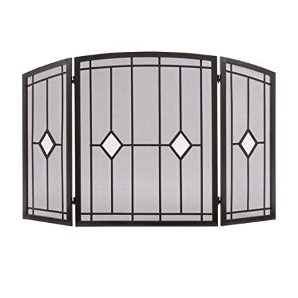 Amazon Com Oil Rubbed Bronze Folding 3 Panel Fireplace Screen With