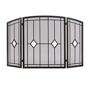 OIL RUBBED BRONZE FOLDING 3 PANEL FIREPLACE