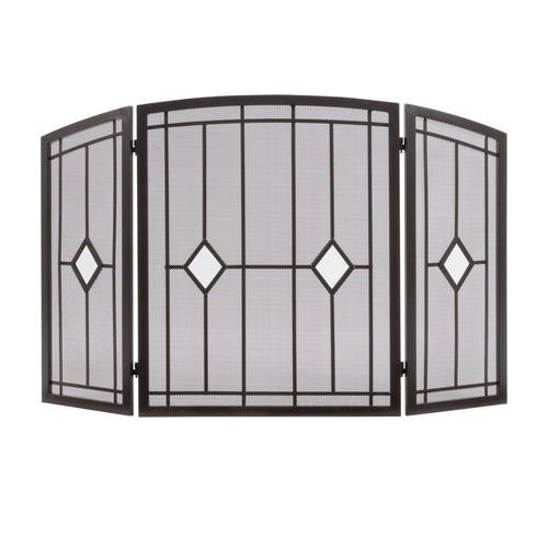 OIL RUBBED BRONZE FOLDING 3 PANEL FIREPLACE SCREEN WITH DIAMOND GLASS BLOCK ACCENTS DECORATIVE HOME FIRE