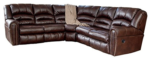 Ashley Furniture Signature Design - Manzanola 2-Piece Sectional - Left Arm Facing Reclining Loveseat & Right Arm Loveseat Recliner - Chocolate